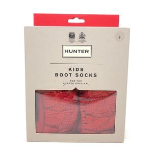 Hunter Boots Red Cable Knit Socks Kids Large
